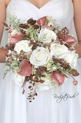 Rose Gold Theme Glitter Bling Wedding Brides Bouquet Rose Gold