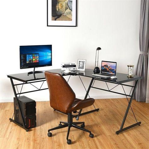 L Shape Computer Desk Tempered Gl