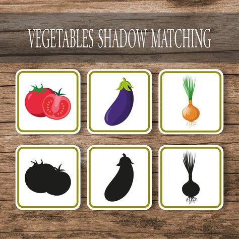 Vegetables Shadow Matching Game Cards
