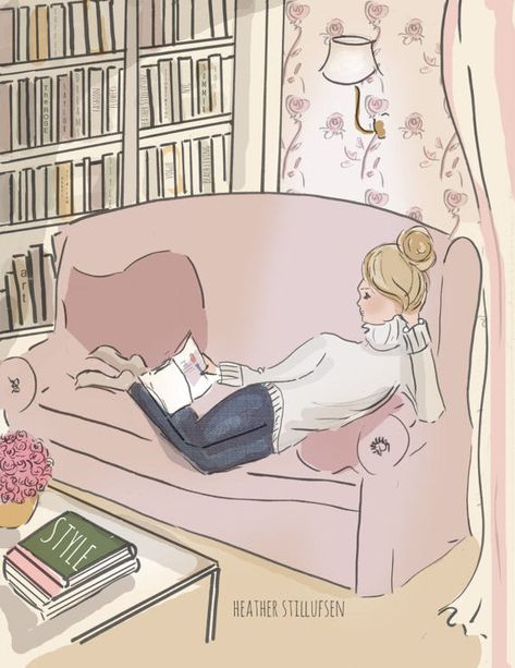 Weekend Reading...Who wouldnt want to curl up and read in this ROSE HILL inspired library room. * hand drawn and colored digitally * This is a print of my original illustration. * Printed on archival fine art paper. * She will come signed and dated by me, the artist Heres What