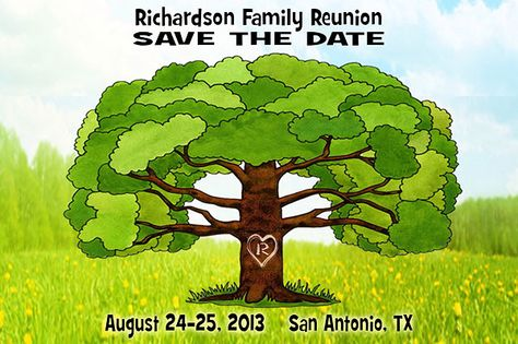 Idea for FAMILY REUNION Save the Date Cards - Big Family Tree is an eye-catching reminder to the whole family about the upcoming event!  More Family Reunion Favors and Save the Dates at http://www.photo-party-favors.com/family-reunion-favors.html