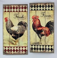 Captivating Rooster Wood Wall Plaque Vintage Country Farm Kitchen Decor