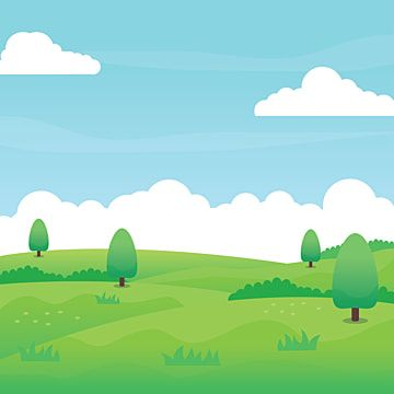 Nature Landscape Vector With Green Field Grass Trees Blue Sky And Clouds Suitable For Background Or Illustration Nature Clipart Day Landscape Png And Vector Latar Belakang Lanskap Langit Biru