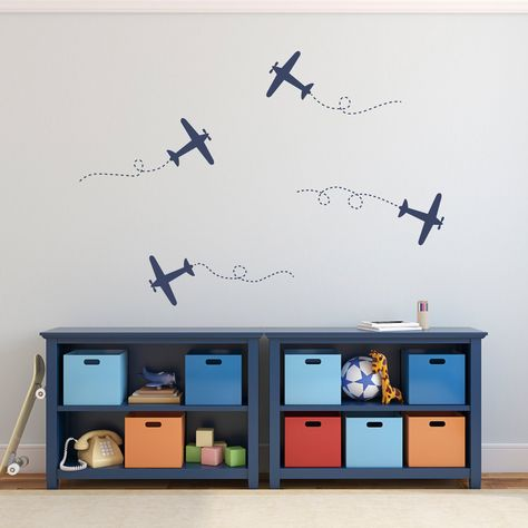Airplane Wall Decal Set - Plane Wall Stickers - Set of 4 - Medium ...