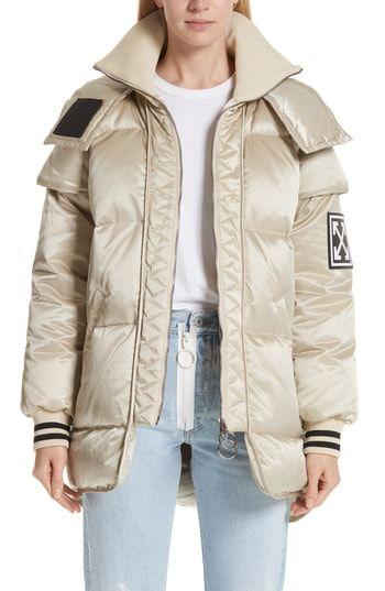 New Off White Patch Down Fill Puffer Jacket Women S Coats Jacket Online Women S Coats 2090 Offerdressforyou Puffer Jacket Women Jackets Coats Jackets Women