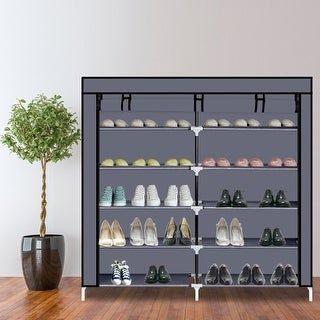 6 Tiers Portable Shoe Rack Closet Fabric Cover Shoe Storage Organizer Cabinet Black Plastic In 2020 Shoe Rack Closet Shoe Storage Organiser Shoe Rack