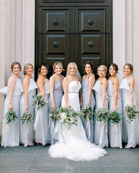 Personally? We're hoping the #light #dusty #blue #color #trend never ends... talk about romance!  Bridal gown #verawang #verawangbride #verawangweddingdress #verawanggown #modernday #moderndaycollective #dustyblue #bluebridesmaids #greenerybouquet #bridalbouquet #bridesmaidbouquets #bluewedding #lightblue #bluecolorpalette #colorpalette #blueweddingideas #weddingideas #weddingflowers