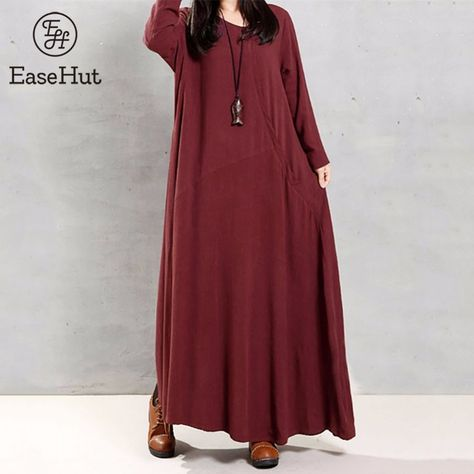 e83f6fff557 Find More Dresses Information about EaseHut 2018 Vintage Women Cotton Dress  Casual Loose Pockets O Neck Long Sleeve Maxi Long Dresses Robe Plus Size ...