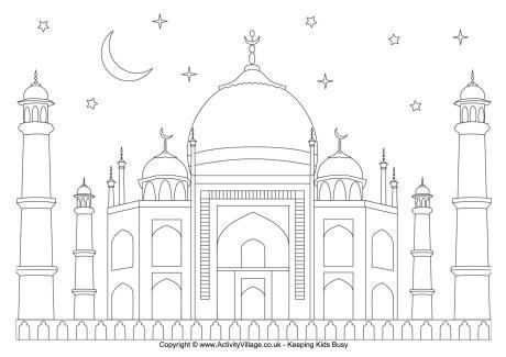 Mosque And Starry Sky Colouring Page Free Download Ramadan