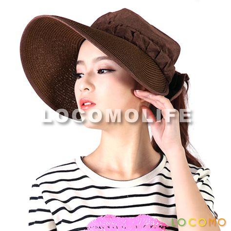 Women Open Top Straw Summer Beach Visor Hat Cap Brown  b6bd6685b02