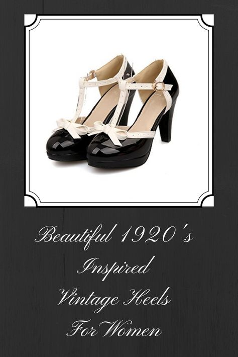 Vintage heels for women. Inspired by the 1920's trend this look is a very popular look now. Vintage style heels are a great way to spice up your look. See for yourself how beautifully the 1920s fashion blends in with this day and age. Find elegant womens Oxford heels as well as Mary Jane style heels. Look classy and elegant with womens t strap shoe. Vintage style heels go beautifully with today's fashion.