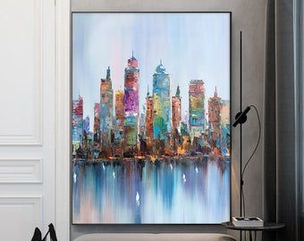 Large City Abstract Painting On Canvas Wall City Painting Etsy Oil Painting Abstract City Painting Abstract City