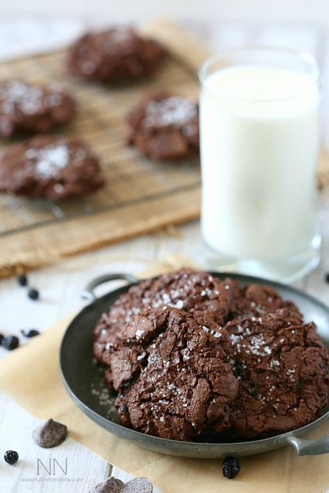 Fudgy Dark Chocolate Blueberry Olive Oil Cookies by Nutmeg Nanny - unique and totally delish!