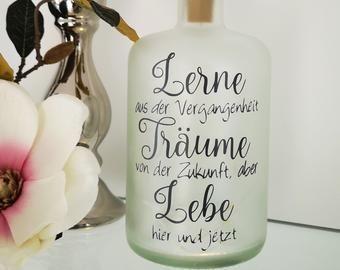 """/""""Zeit zum Träumen../"""" Leuchtflasche Geschenk Geldgeschenk Geburtstag Weihnachten"""