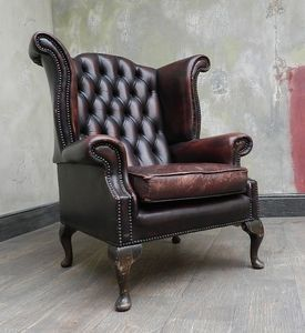Vintage Chesterfield Oxblood Red Leather Wingback Queen Anne Armchair Ebay Leatherchair Home Decor Home Interior Design