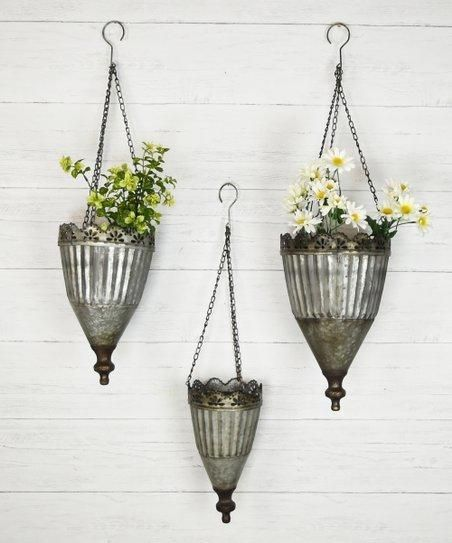 Sale Set Of 3 Tin Hanging Planters Hanging Plants Diy Hanging Planters Hanging Plants