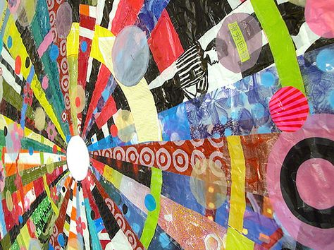 Artwork using recycled plastic bags by Virginia Fleck