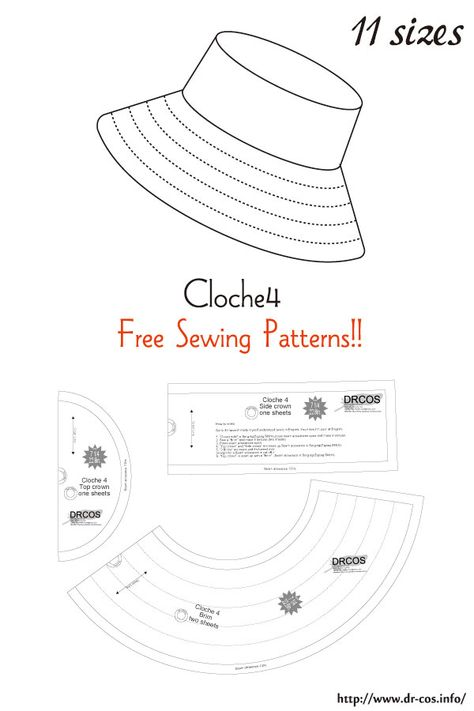 This is the pattern of a inch size(letter size) cm size) Hat Patterns To Sew, Sewing Patterns Free, Free Sewing, Clothing Patterns, Sewing Hacks, Sewing Tutorials, Sewing Crafts, Sewing Projects, Fashion Sewing