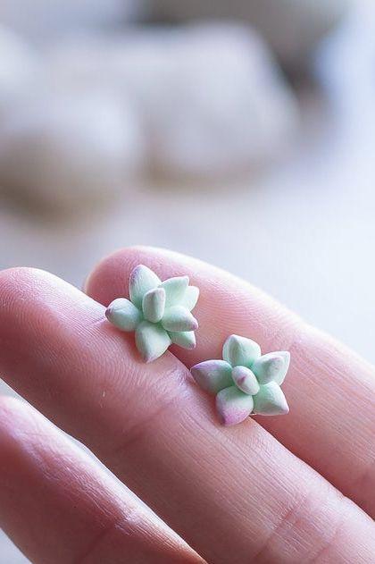 Clay Succulent Earrings