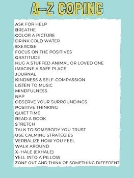 A Z Coping Skills Poster By Social Work Wish List Tpt Coping Skills School Social Work Skills