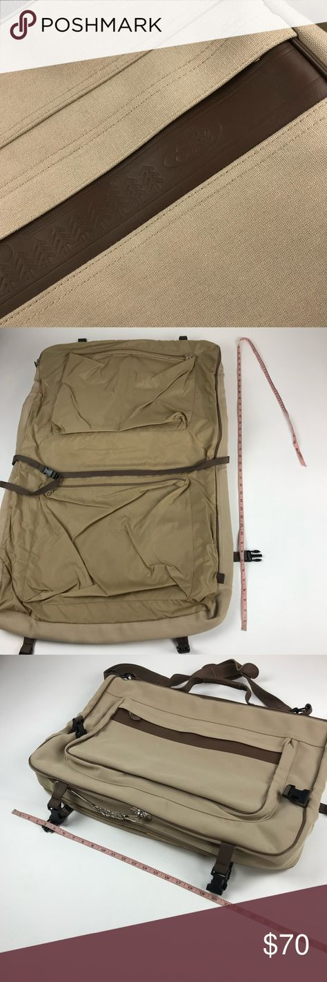 01cdac9aa777 Eddie Bauer Ford Leather Canvas Garment Suitcase Eddie Bauer Ford Motor  Company leather canvas garment bag. Excellent pre-owned condition.