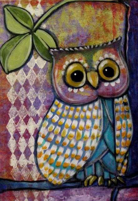 Suzan Buckner has lots of cool owl paintings on her Art by me board.