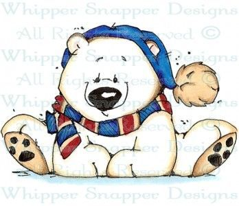 Whipper Snapper Stamps of animals | Bundled Up Mike - Bears - Animals - Rubber Stamps - Shop