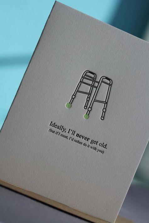 I'd Rather Grow Old With You-- letterpress elderly walker greeting card