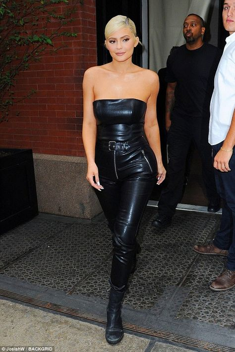 7baa4b8c4bfc5 Kylie Jenner is all smiles in sexy all black leather outfit in NYC