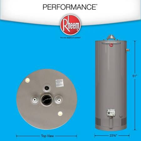 Rheem Performance 50 Gal Short 6 Year 40 000 Btu Natural Gas Tank