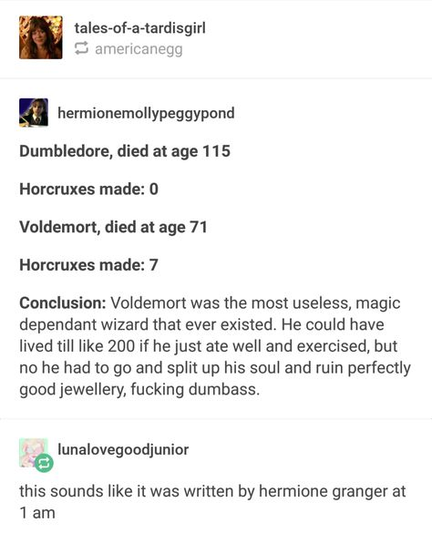This post, which was definitely written by Hermione herself: