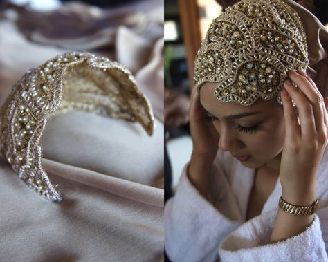 Hijab Weddingmodesty head peice Hijab Wedding Source : modesty head peice by Muslimah Wedding Dress, Muslim Wedding Dresses, Muslim Brides, Muslim Couples, Headpiece Wedding, Bridal Headpieces, Style Fête, Wedding Hijab Styles, Mode Turban