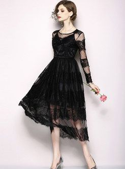 c59c517f6fbc1 Sexy Black Perspective Mesh O-neck Splicing Dress in 2019 | wedding ...