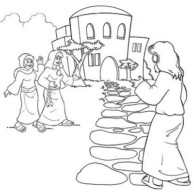 Hello Jesus Mary And Martha Bible Coloring Pages Sunday