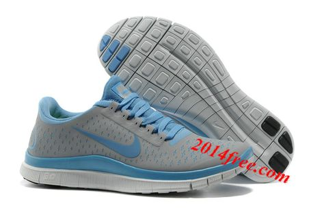 uk availability 9eb54 bba84 Womens  Nike  Free 3.0 V4 Wolf Grey University Blue Shoes