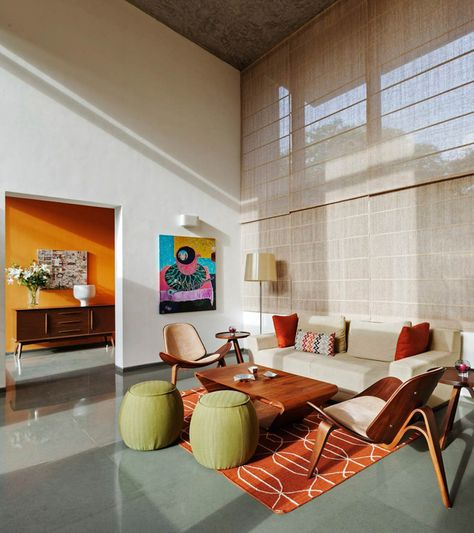 This Bangalore House Featuring Mid-Century Classics Furniture and Contemporary Art , - contemporary Rugs - Indian Living Rooms Home, Living Room Seating, Living Room Inspiration, Contemporary Living Room Design, Interior Design, Mid Century Living Room, Living Room Designs, Furniture Decor, Living Room Inspo
