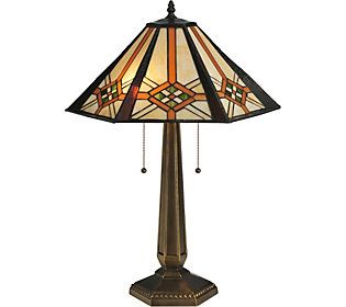 Meyda Tiffany Style 26 Crosshairs Mission Table Lamp Qvc Com