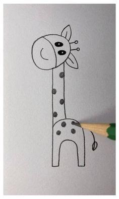 Giraffe Drawing Easy #cute #drawings #simple #space #cutedrawingssimplespace