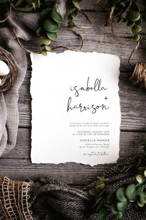 Adella - Modern Minimalist Wedding Invitation Template Suite, Wedding Invitation Template Download, Wedding Invitations, Printable DIY