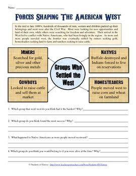 Manifest Destiny and American Expansion Worksheet | 7th ...