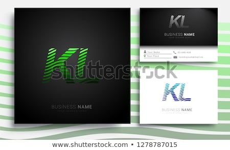 Letter Kl Logotype With Colorful Circle With Striped Composition