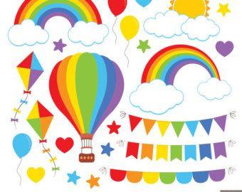 Rainbow Clipart Clip Art Rain Cloud Raindrops Sun Sky Stars by mintprintables | Etsy