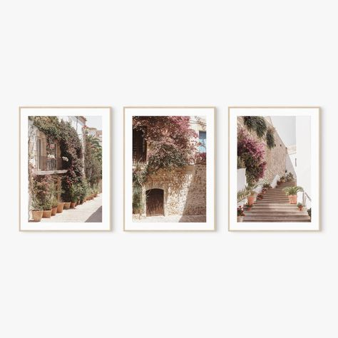 Set of 3 Prints Wall Art Mediterranean Village Print Spain | Etsy