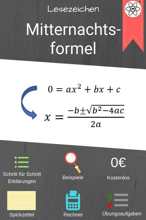 Erklärung der Mitternachtsformel mit Beispielen, Spickzetteln ...