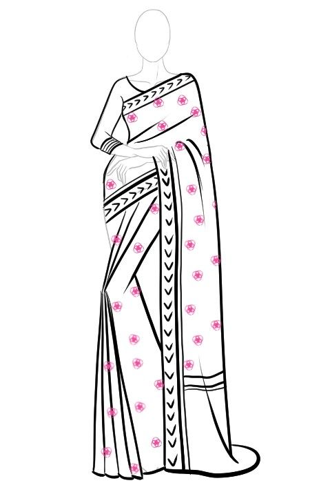 How To Draw Saree In 12 Easy Steps I Draw Fashion In 2020 Fashion Illustration Sketches Dresses Fashion Drawing Dresses Fashion Figure Drawing