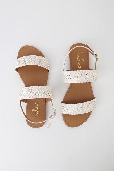 Blaise White Flat Sandals   Sandals