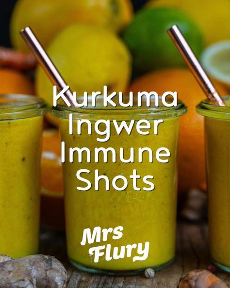 Gesunde Immunshots selber machen Rezept @mrsflury Immunsystem stärken, Ingwer, Winter, gesund bleiben, gesunde Ernährung, Superfoods, Ingwer Shots, Immuneshots, Ingwershots, Selbermachen, selbstgemacht Kurkuma und Ingwer sind altbewährte Superfoods, welche den Stoffwechsel und die Verdauung anregen können und mit reichlich Vitamin C im Shot das Immunsystem unterstützen.  #shots #immuneshots #gesund #gesunderezepte #mrsflury
