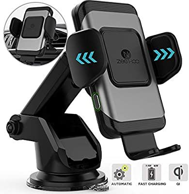 ZeeHoo Wireless Car Charger Mount with USB-C Galaxy S10 S9 S8,Note 10 Note 9 10W 7.5W Auto-Clamp Fast Wireless Charger Air Vent Phone Holder Compatible iPhone 11,11 Pro,11 Pro Max,XS Max,XS,XR,X