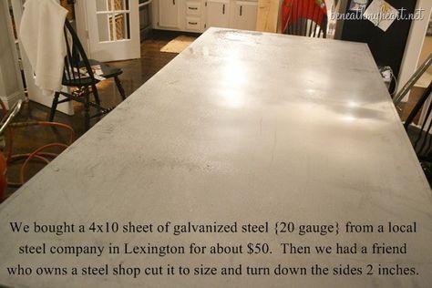 Diy Zinc Top Kitchen Table Beneath My Heart Top Kitchen Table Kitchen Table Metal Table Top
