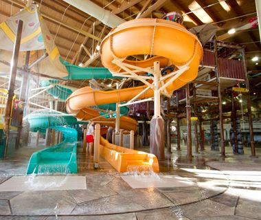 Totem Towers is fastest escape route from the heights of Fort Mackenzie at Great Wolf Lodge Wisconsin Dells. Take your next family getaway to our indoor water park resort.